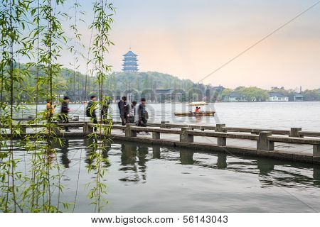 Beautiful Hangzhou West Lake Scenery In Spring