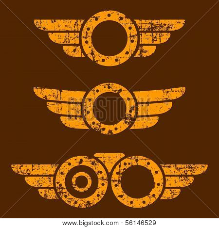 Steam punk emblem set