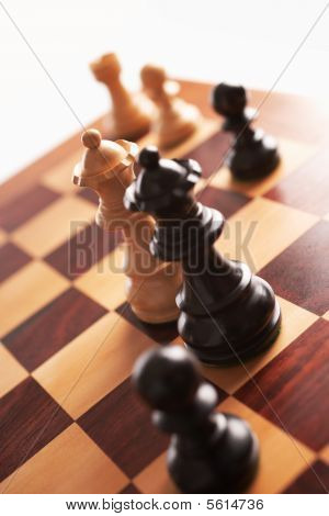 Chess Back And White Queens Face Each Other