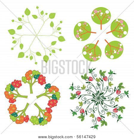 Leaves trees flowers symbols in circle