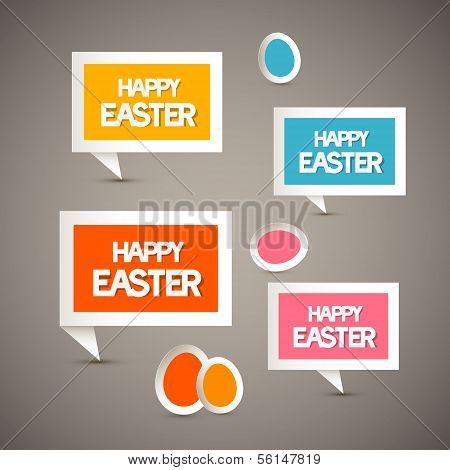 Retro Paper Tags With Happy Easter Title And Eggs
