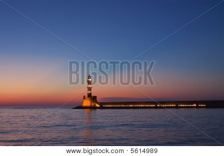 Hania Lighthouse At Dusk