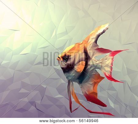 Scalar fish in water 3d render computer graphic illustration in mosaic flat surface style