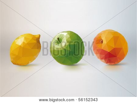 Fruit Set: lemon, apple, peach. Low-poly triangular style illustration