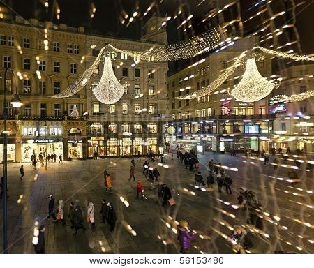 The Graben Of Vienna On Evening During Christmas Season