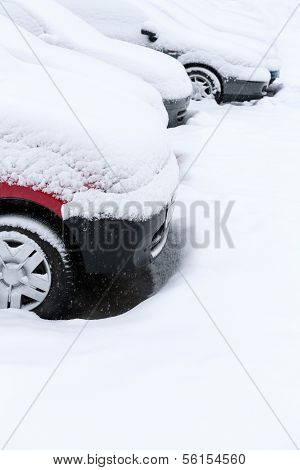 Car on winter parking lot