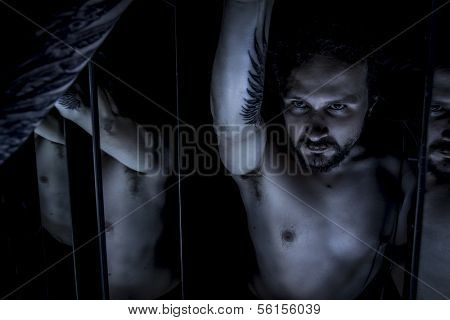 Mirrors, Male model, evil, blind, fallen angel of death