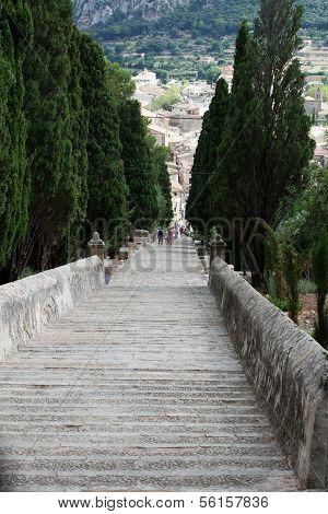 Calvary Steps at Pollensa in Mallorca Spain