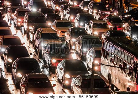 Crowded Car In The Night