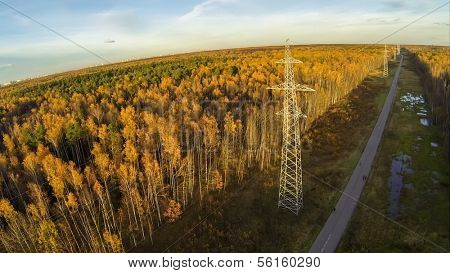 Power lines among the road and trees with colorful foliage in park on Elk island at Moscow, view from unmanned quadrocopter.
