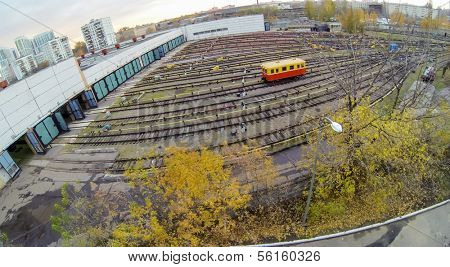 Waggon near the gates of metro depot, view from unmanned quadrocopter.