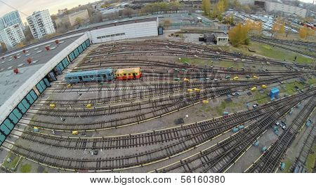 Tow waggons near the gates of metro depot, view from unmanned quadrocopter.