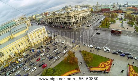 MOSCOW - OCT 20: View from unmanned quadrocopter to city panorama with Metropol Hotel  and Garden at Theater Square on October 20, 2013 in Moscow, Russia.