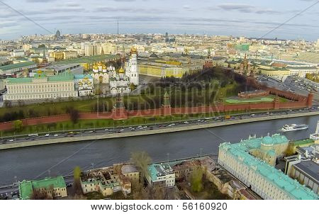MOSCOW - OCT 26: View from unmanned quadrocopter to city landscape with Cathedral of the Dormition and Kremlin near the Moscow River on October 26, 2013 in Moscow, Russia.