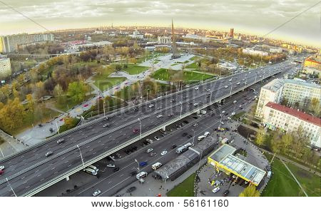 MOSCOW - OCT 19: View from unmanned quadrocopter to city panorama with Obelisk Conquerors of Space and gas station near the highway on October 19, 2013 in Moscow, Russia.