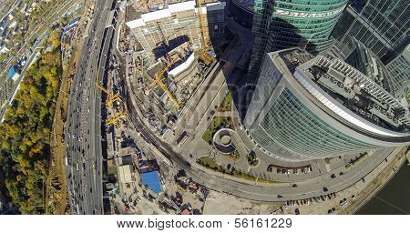 MOSCOW - OCT 12: Cityscape with towers of Moscow City and construction buildings near them (view from unmanned quadrocopter) on October 12, 2013 in Moscow, Russia.