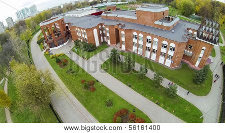 MOSCOW - OCT 23: View from unmanned quadrocopter to Palace of Children in Youth East Administrative District on October 23, 2013 in Moscow, Russia.