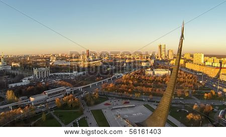 MOSCOW - OCT 19: View from unmanned quadrocopter to city panorama with Obelisk Conquerors of Space and Exhibition Center on October 19, 2013 in Moscow, Russia.