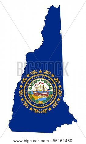 State of New Hampshire flag map isolated on a white background, U.S.A.