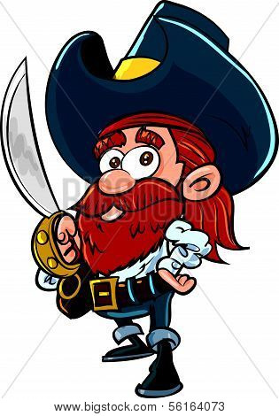 Cute cartoon pirate with a cutlass. Isolated on white