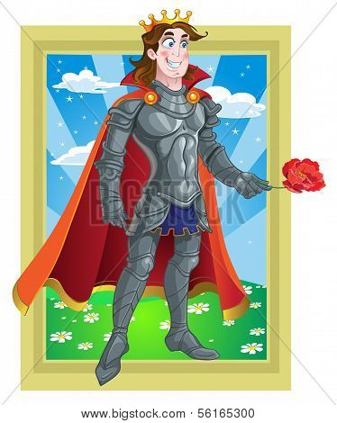 Prince Charming in armour give flover on Fairytale landscape
