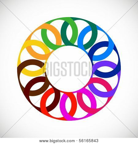 Geometric entwined wheels in color rainbow