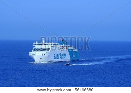 Barcelona, Spain - July 24: The Ship Balearia+ Lines Heading To The Port Of Barcelona With Pilots Bo