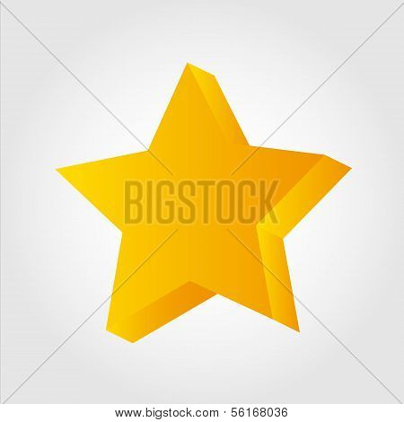 Golden star icon, 3d