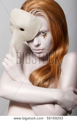 Stylized Woman With Carnival Mask. Masquerade. Platinum Makeup With Golden Teardrops