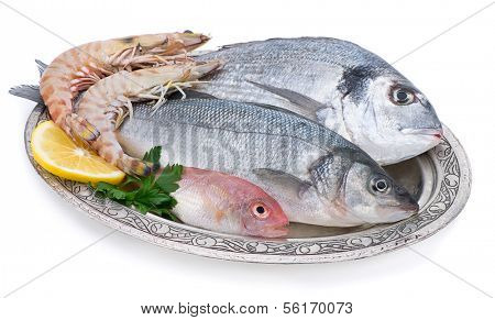 Fish and Shrimp in Authentic Plate