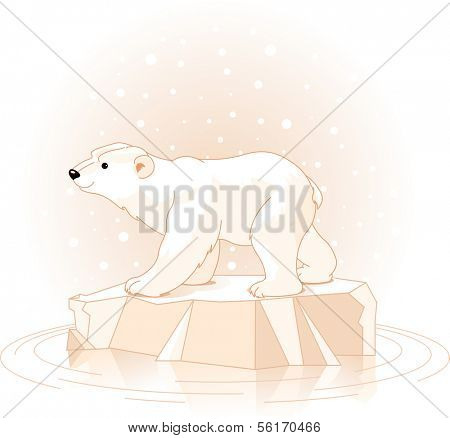 Polar Bear on the ice floe. Raster version.
