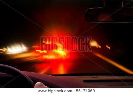 night driving - caution - brake lights