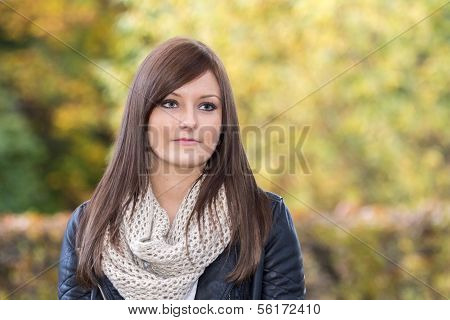 Beautiful Woman With A Neutral Facial Expression