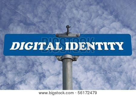 Digital identity road sign with nature sky view