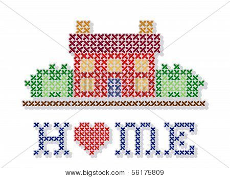 Home With Heart Cross Stitch Embroidery