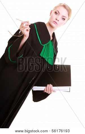 Female Lawyer Attorney Wearing Classic Black Green Gown