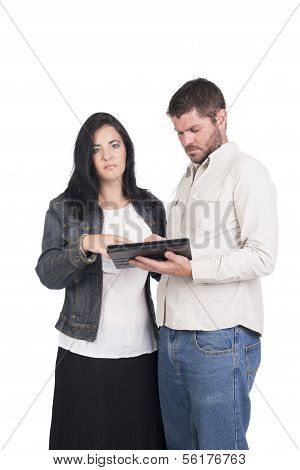 Young Deaf Or Hearing Impaired Couple Or Siblings With Tablet