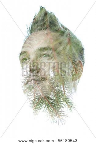 Double exposure portrait of young man combining pine needles with his features in a thoughtful serene pose isolated on white