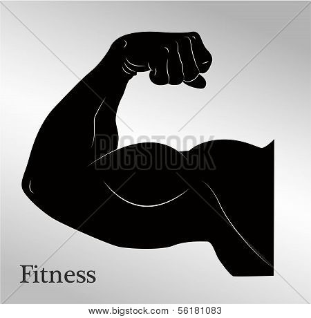 Cartoon biceps man's arm muscles