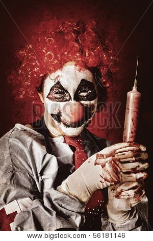 Crazy Medical Clown Holding Oversized Syringe