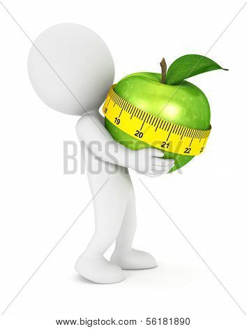 3d white people holding an apple
