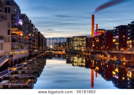 Marina Of Frankfurt With Power Station At Dusk
