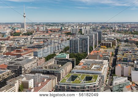 Aerial View Of Berlin With Television Tower Or Fernsehturm