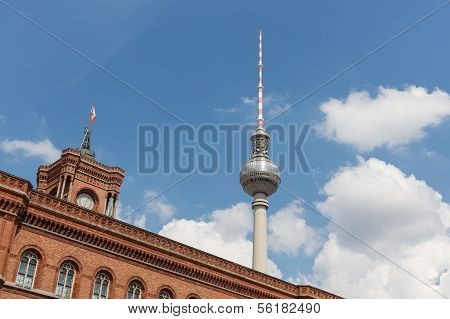 Television Tower Berlin Behind The Facade Of The Rotes Rathaus