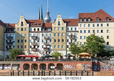 Berlin, Germany - July 25:  Cityscape Berlin With Unknown People Sitting At Terraces Seen From River