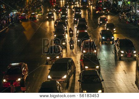 Traffic At Main Road In Bangkok At Night