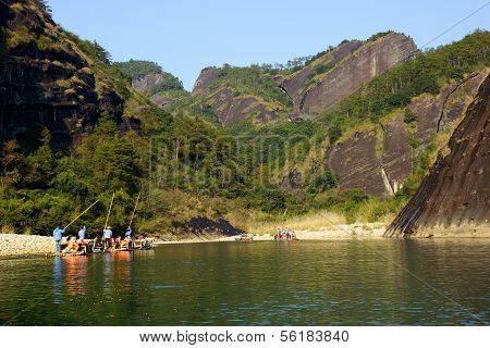 Bamboo rafting in Wuyishan mountains, China