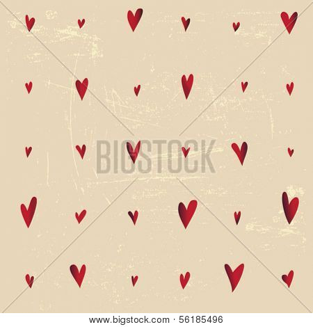 Whimsical Valentine's Day Pattern - Seamless pattern for Valentine's Day, with wonky hearts on grungy background