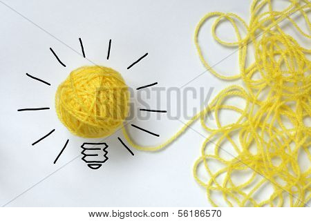 Inspiration wool light bulb metaphor for good idea