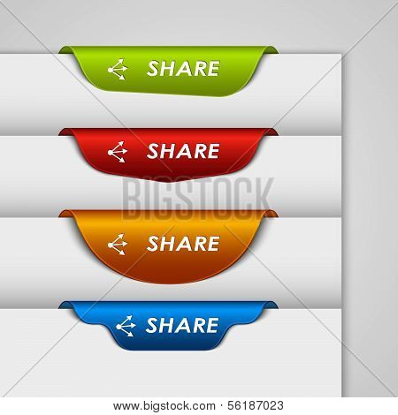 Color label bookmark share on the edge of web page